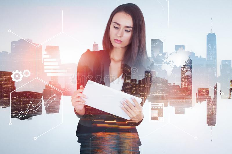 Woman with tablet in city, infographics royalty free stock photos