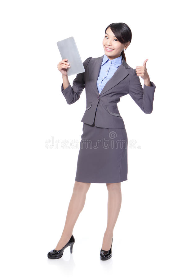 Woman With Tablet PC And Show Thumb Up Royalty Free Stock Photo