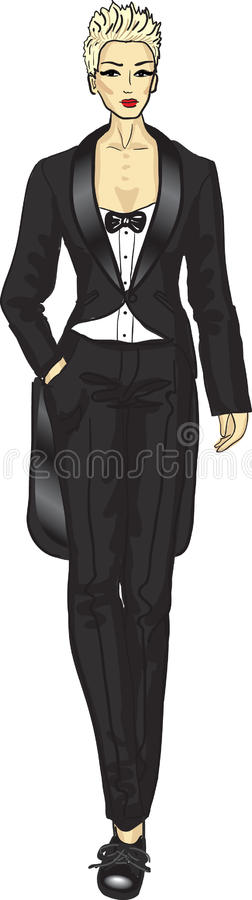 Download Woman in tail-coat stock vector. Image of bow, beauty - 26546380