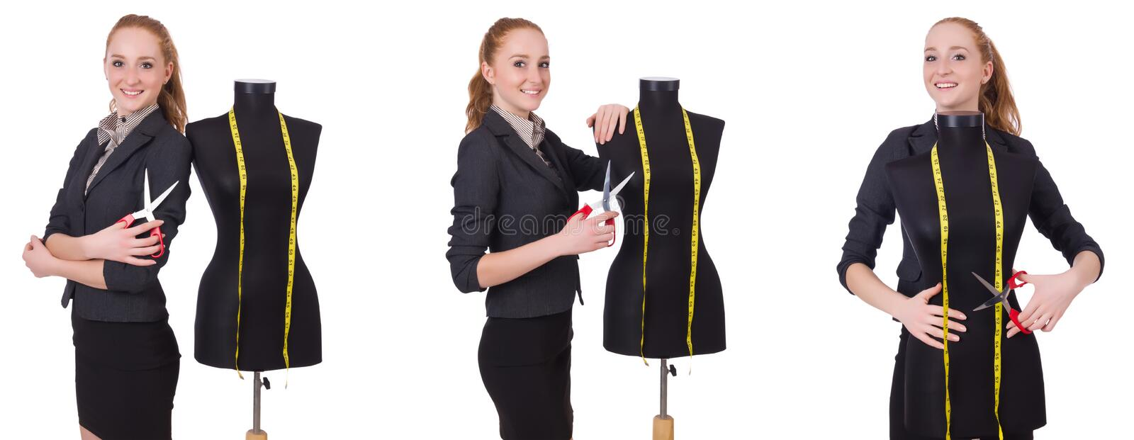 The woman tailor isolated on white stock image