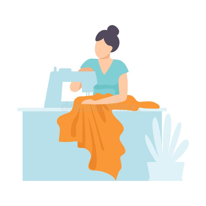 Woman Tailor Sewing Using Sewing Machine, Craft Hobby or Profession Vector Illustration royalty free illustration