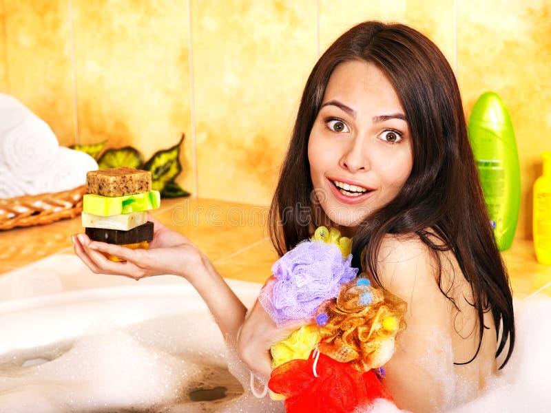 Woman Take Bubble  Bath. Royalty Free Stock Photos