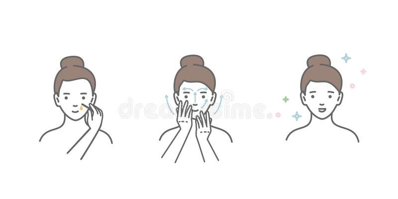 Woman take care about face. Steps how to apply facial serum. vector illustration