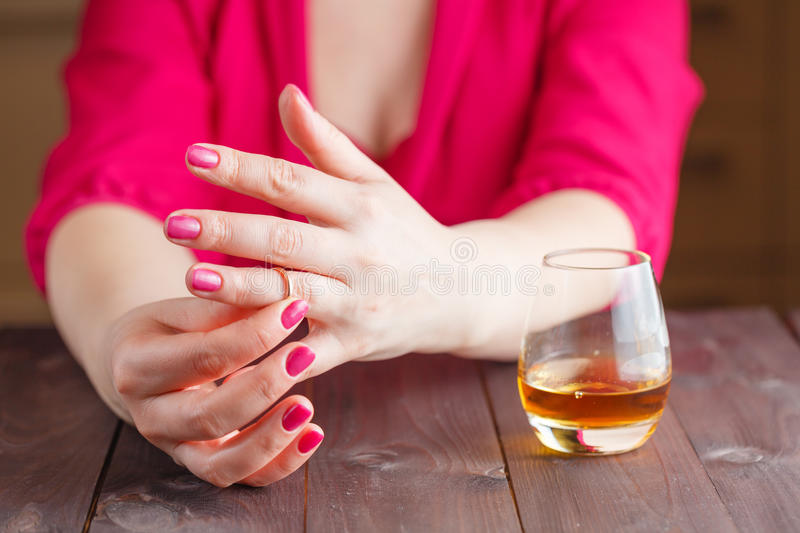 Woman Take Off Wedding Ring Stock Image Image of alcoholism