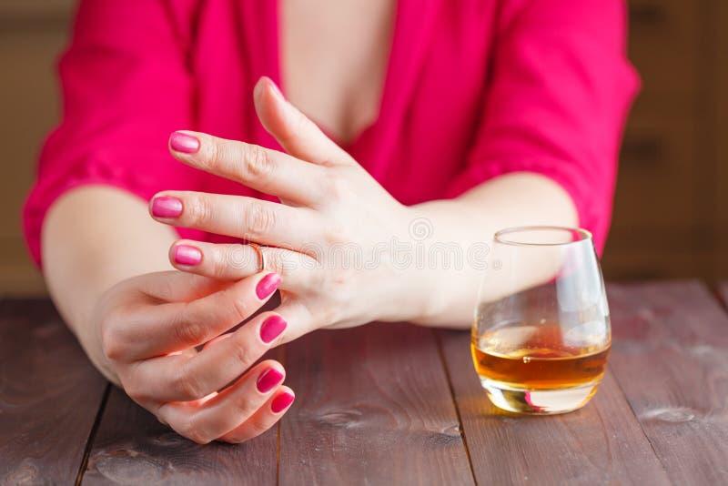 Woman Take Off Wedding Ring Stock Image Image of alcoholism