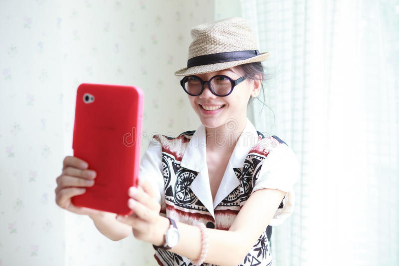 Download Woman Take A Photo By Smart Phone Tablet Stock Photo - Image: 25923452