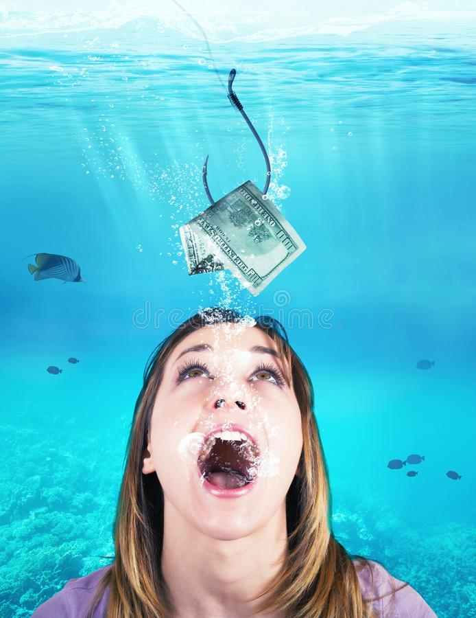 Woman takes the bait. Woman like a fish takes the bait stock photos