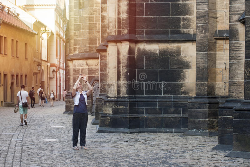 Woman takes picture on mobile phone royalty free stock photos