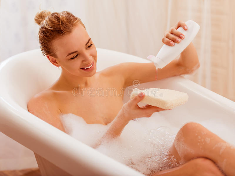 Download Woman Taking A Bath Stock Image Of Positive Pretty