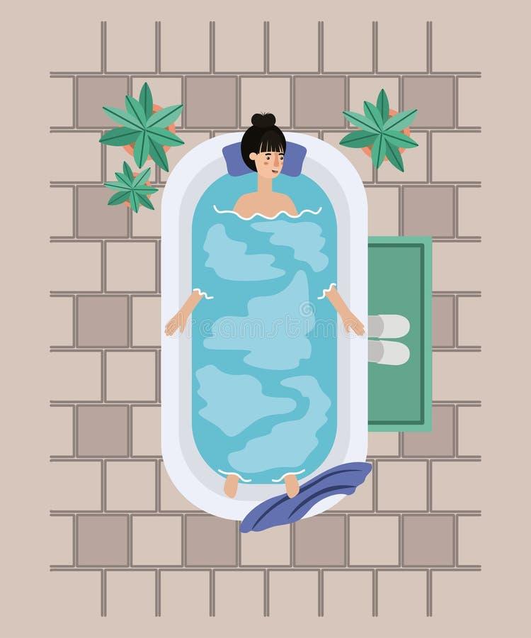 Woman taking a bath tub. Vector illustration design stock illustration