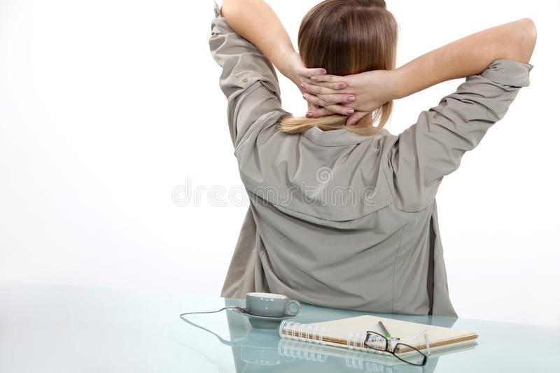 Woman taking a break. From writing stock images