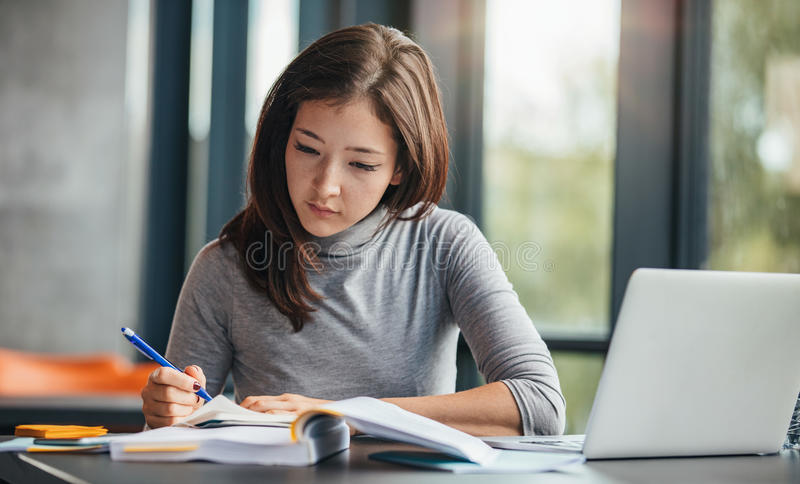 Woman taking down notes in diary royalty free stock photo