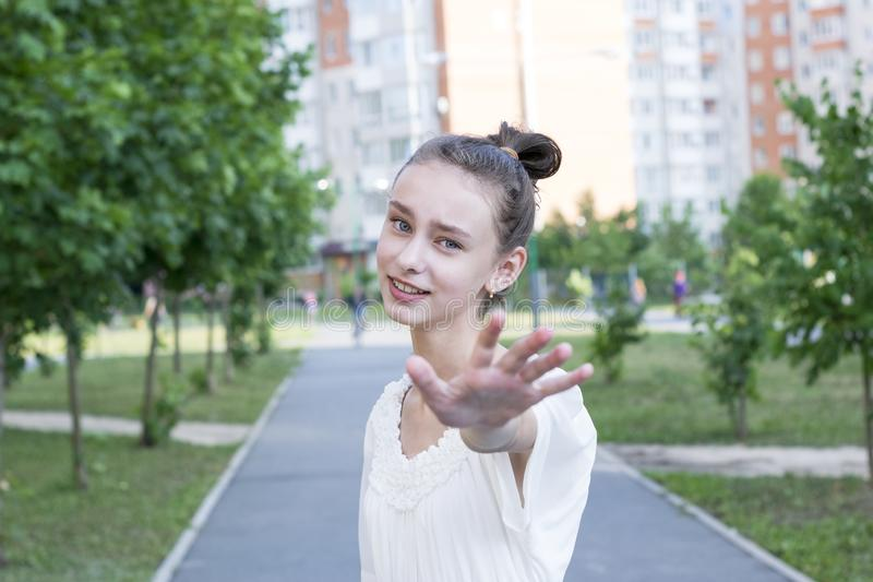 Woman taking her hands stock photo