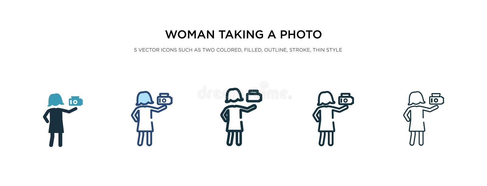 Woman taking a photo icon in different style vector illustration. two colored and black woman taking a photo vector icons designed vector illustration