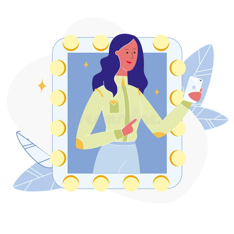 Woman Taking Photo in Mirror Flat Illustration. Attractive Fashion Model Taking Selfie. Beautiful Young Girl Checking Outfit. Female Cartoon Vector Character stock illustration