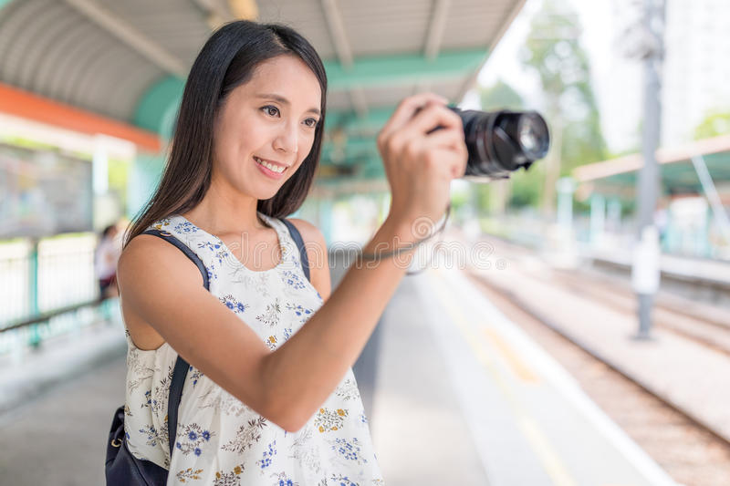 Woman taking photo at outdoor stock images
