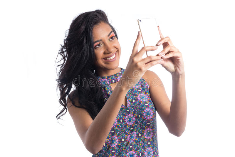 Young Pretty Woman Make Self Portrait Selfie With Her Cellphone Stock Photo - Image Of -4503