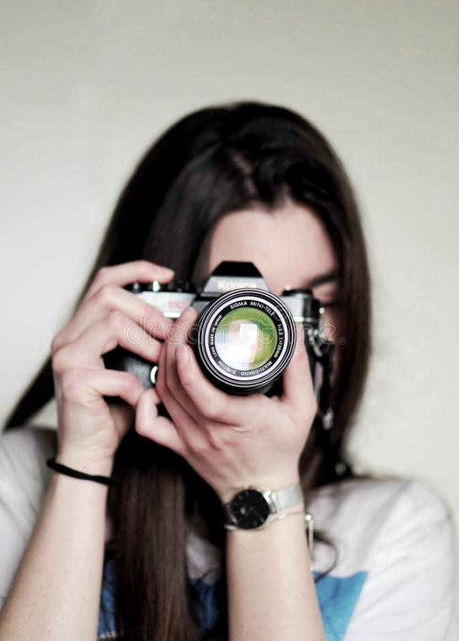 Woman Taking a Photo Using Dslr Camera royalty free stock images