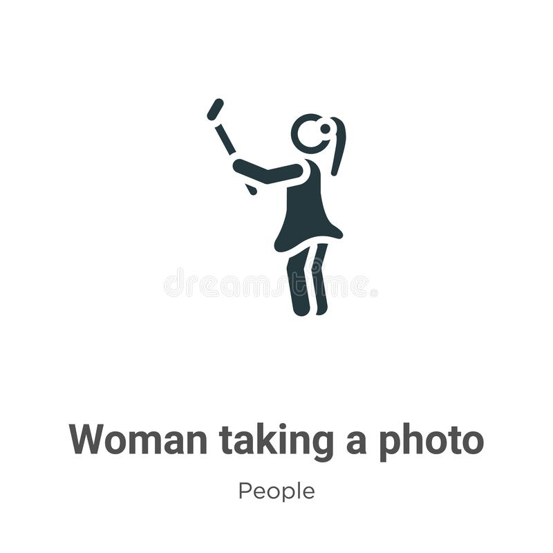 Woman taking a photo vector icon on white background. Flat vector woman taking a photo icon symbol sign from modern people. Collection for mobile concept and royalty free illustration