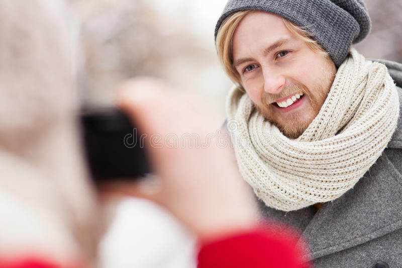 Download Woman Taking Photo Of Young Man Stock Photo - Image: 29617392