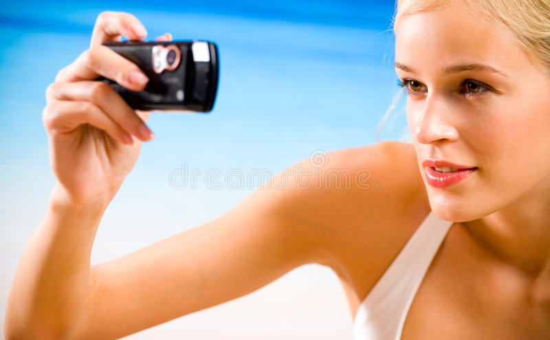 Download Woman taking photograph stock photo. Image of activity - 3535786