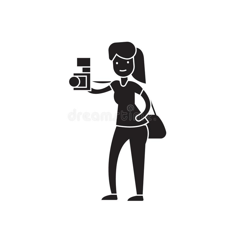 Woman taking a picture black vector concept icon. Woman taking a picture flat illustration, sign stock illustration