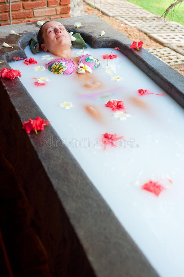 Download Woman Taking Pleasure In Milk Bath Stock Photo - Image: 12194074