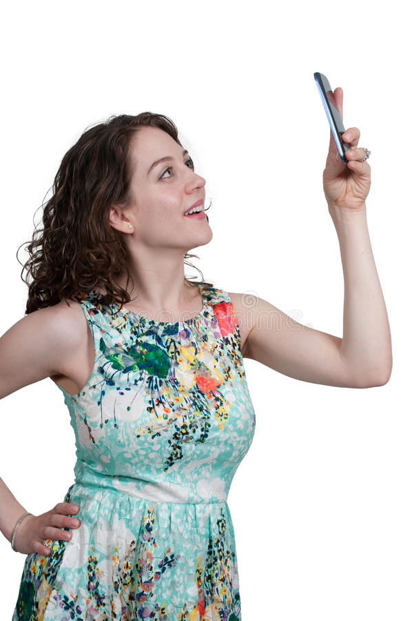 Woman taking a selfie stock images