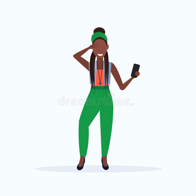 Woman taking selfie photo on smartphone camera african american female cartoon character posing on white background flat. Full length vector illustration stock illustration