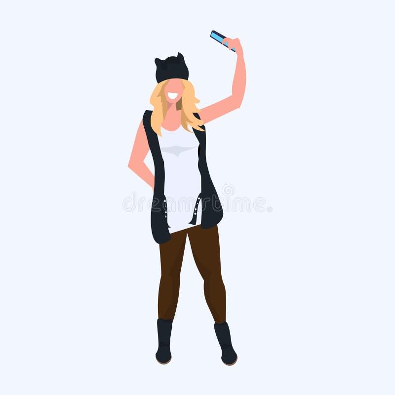 Woman taking selfie photo on smartphone camera casual female cartoon character girl model standing pose flat full length. Vector illustration stock illustration