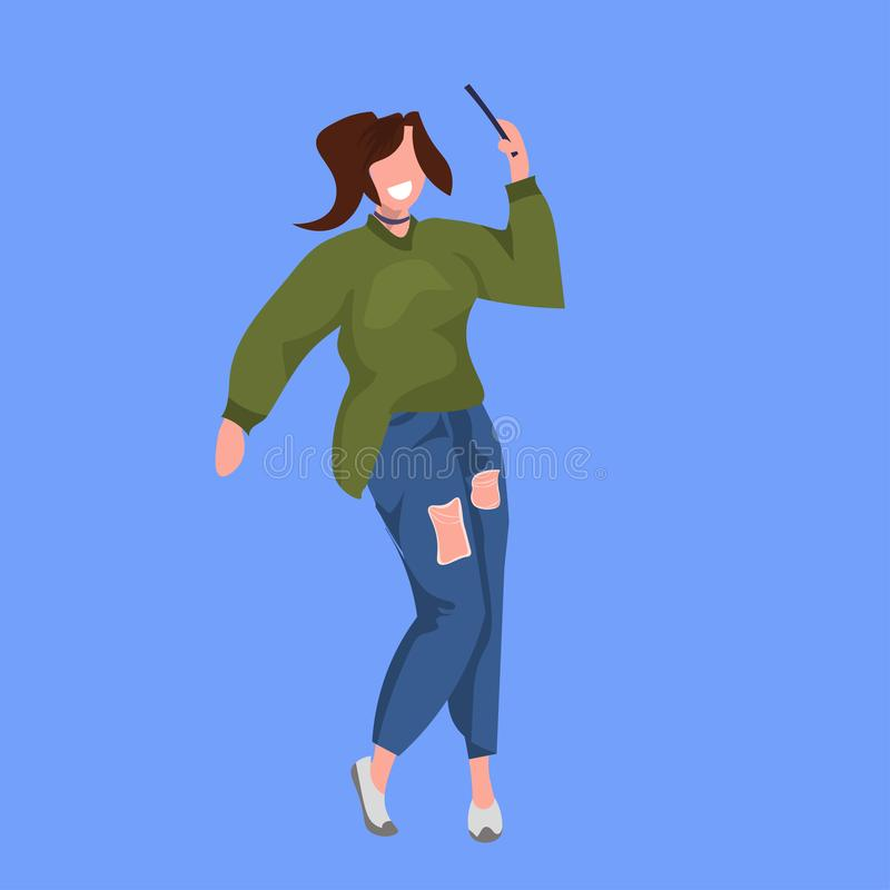 Woman taking selfie photo on smartphone camera casual female cartoon character standing pose flat full length blue. Background vector illustration stock illustration