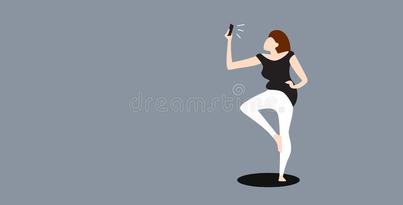 Woman taking selfie photo on smartphone camera young casual female cartoon character posing on gray background sketch. Full length horizontal vector vector illustration