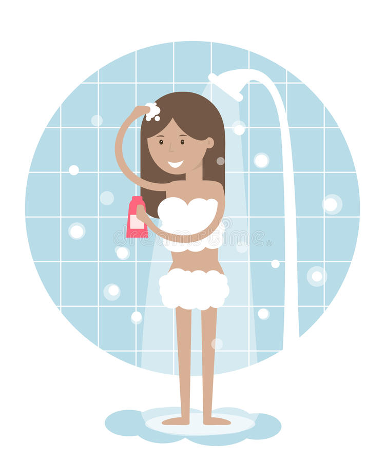 Bathroom Clip Art Girl Bath Clipart Kid: Woman Taking A Shower. Stock Vector. Illustration Of