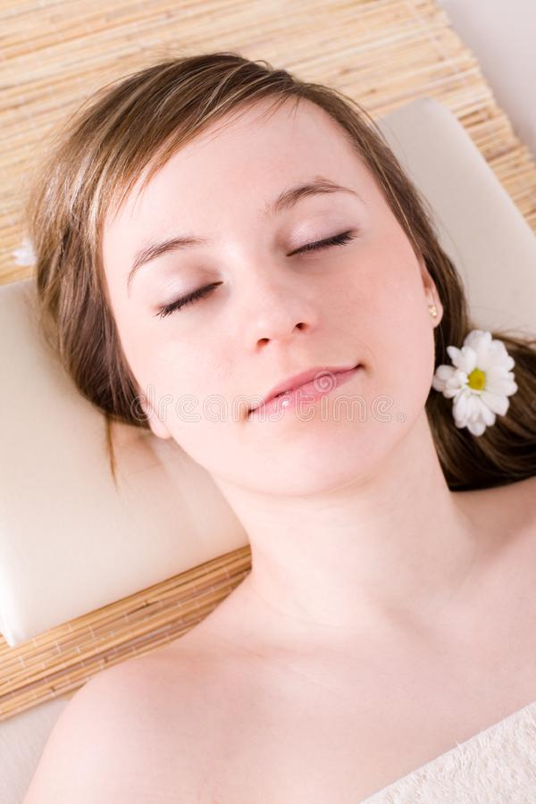 Woman taking spa treatment royalty free stock photos