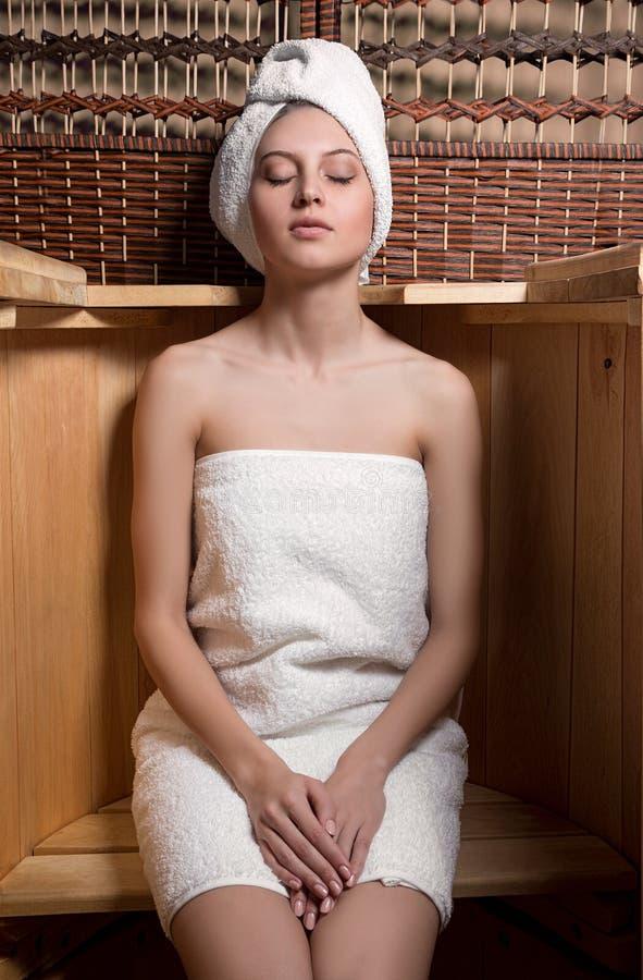 Woman taking spa treatments stock photo