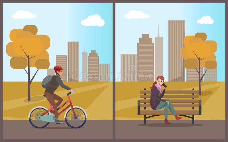 Woman Talking on Mobile Phone and Biker Vector. Woman talking on mobile cell phone and bike riding bicycle set vector. Male with active sporty lifestyle, autumn royalty free illustration