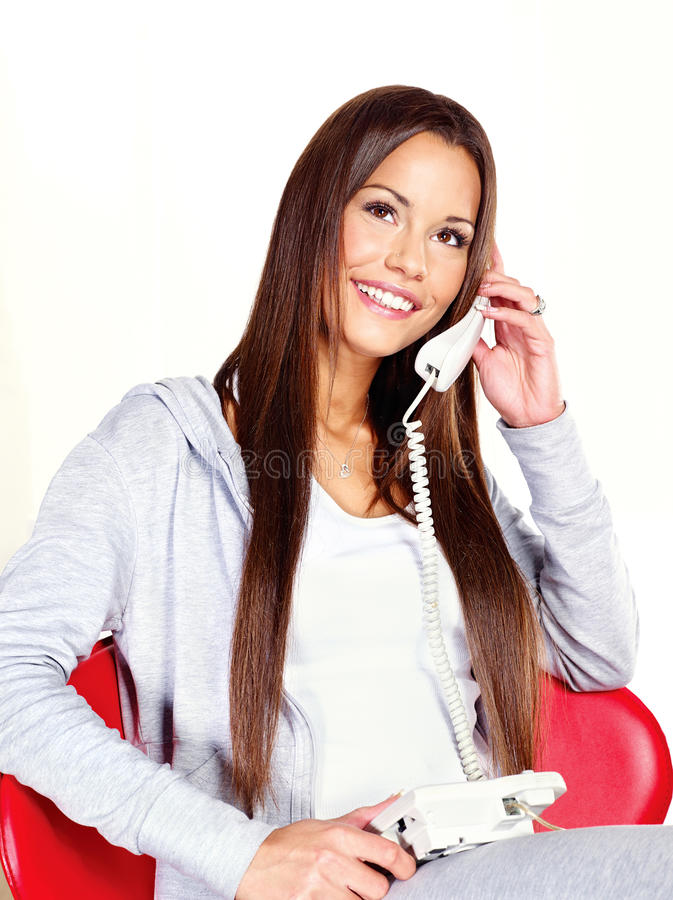 Download Woman Talking Over Phone At Home Stock Image - Image of caucasian, smile: 33389815