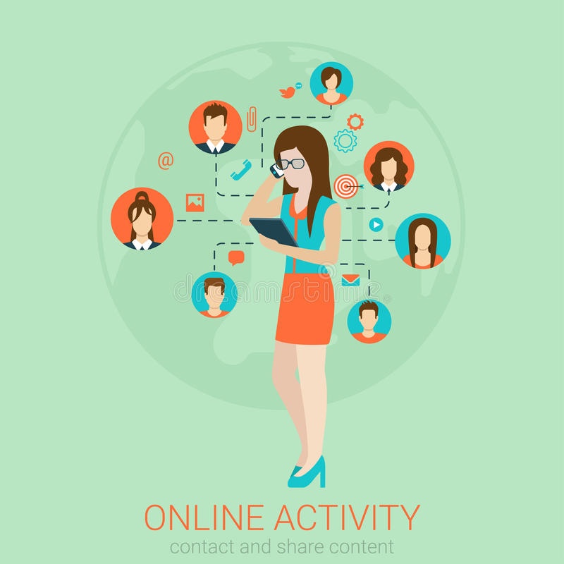 Woman talking phone in vector flat social media network concept. Beautiful young girl businesswoman secretary helper manager in glasses talking phone royalty free illustration