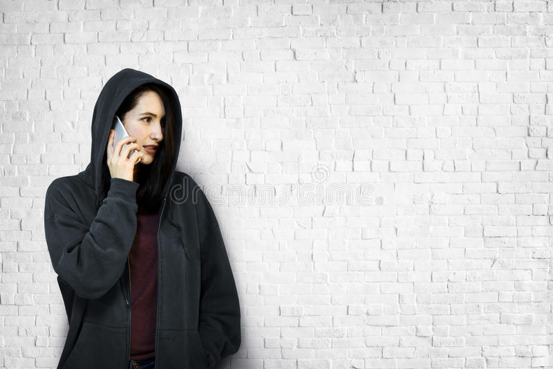 Woman Talking Telecommunication Connection Concept.  royalty free stock image