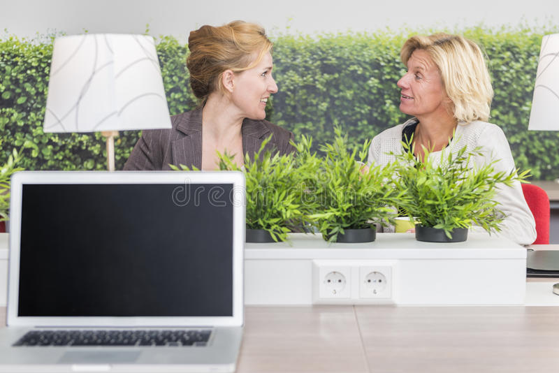 Woman talking in their workarea royalty free stock photos