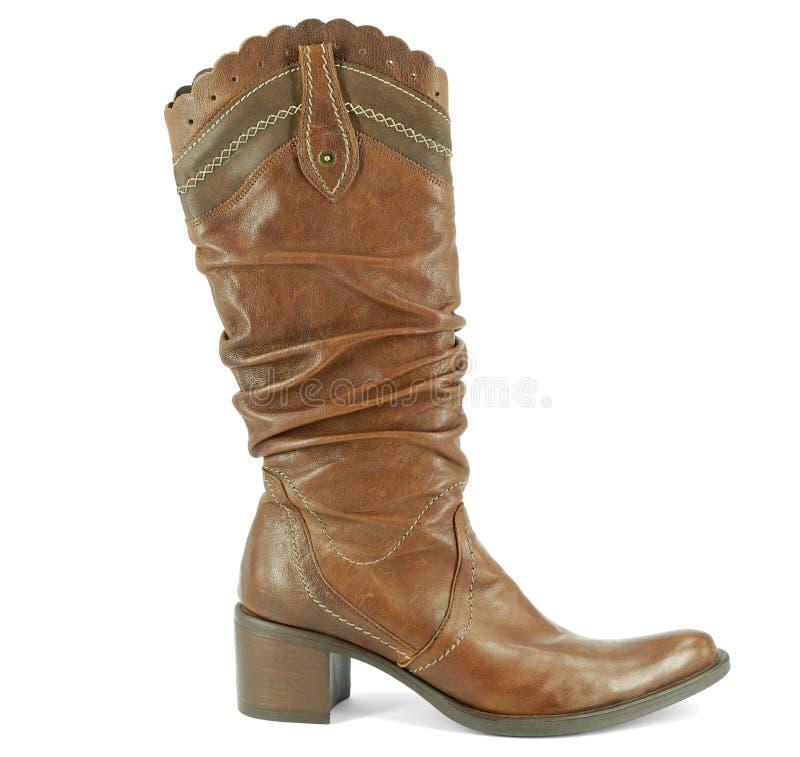 Woman tall cowboy boot stock photo