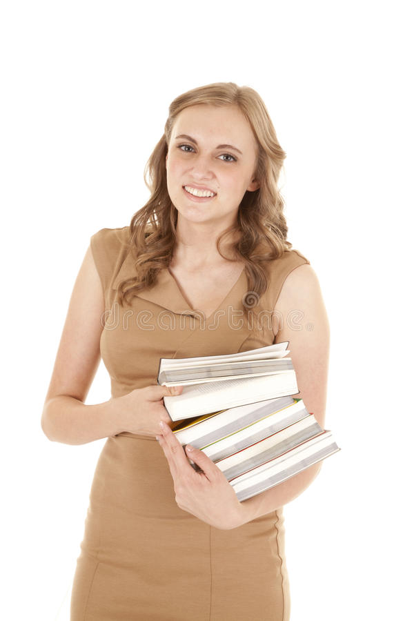 Woman Tan Dress Stack Books Royalty Free Stock Photography