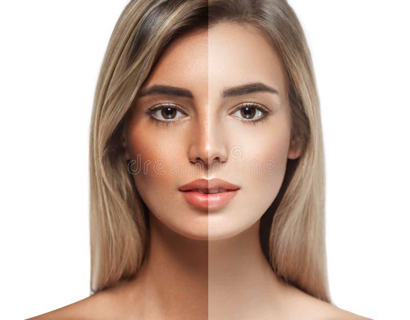 Woman tan half face beautiful portrait. Studio shot royalty free stock photo