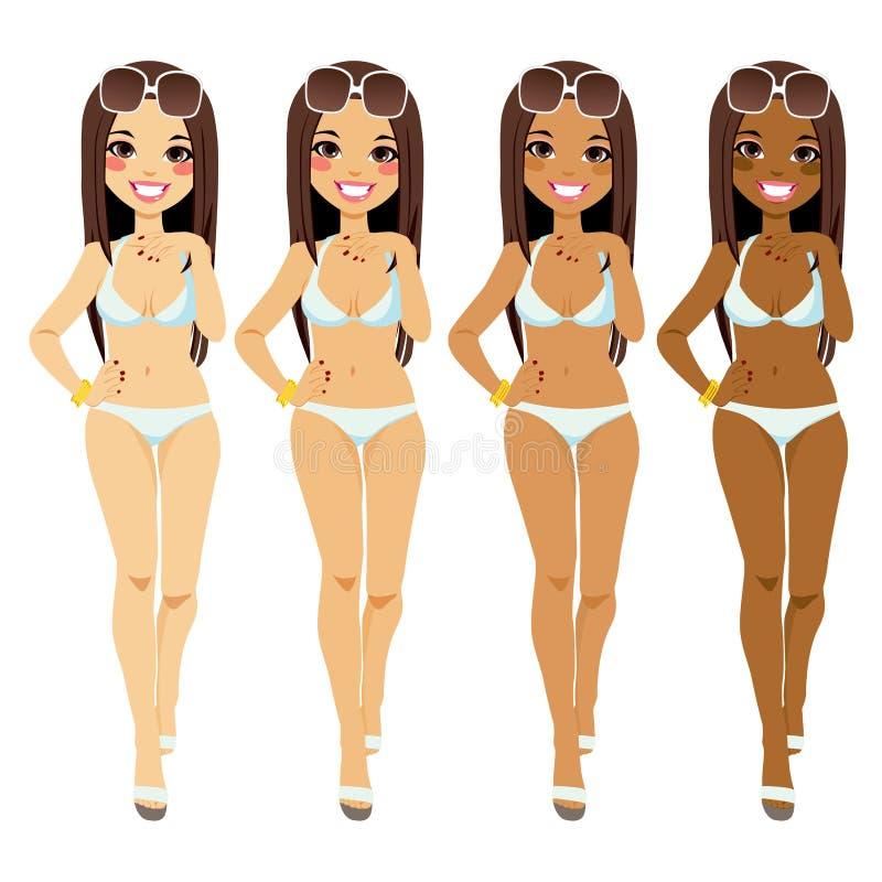 Woman Tanning Tones stock illustration