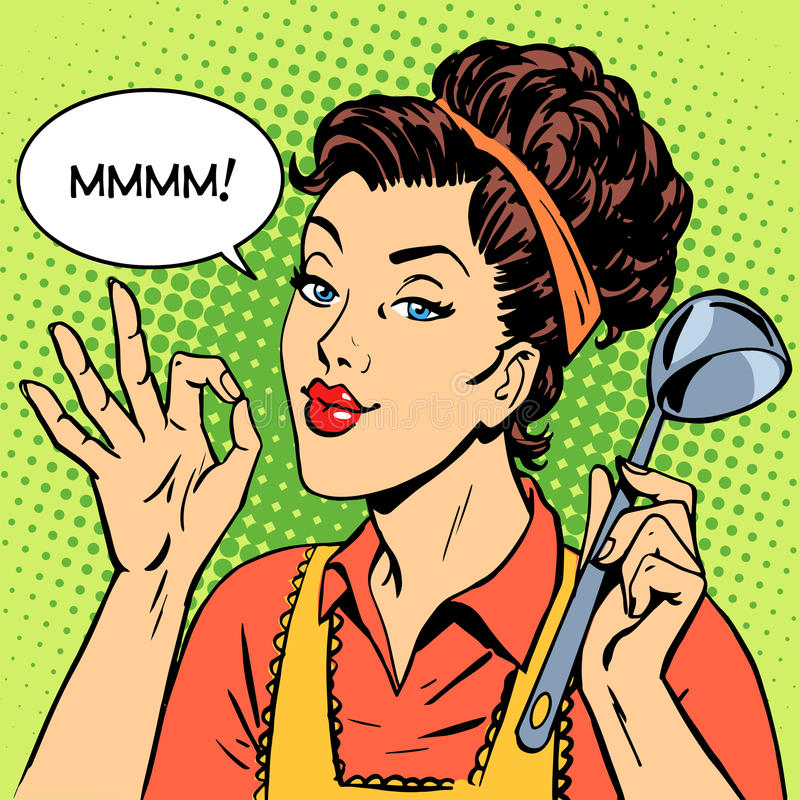 Woman tasty dish cooking royalty free illustration