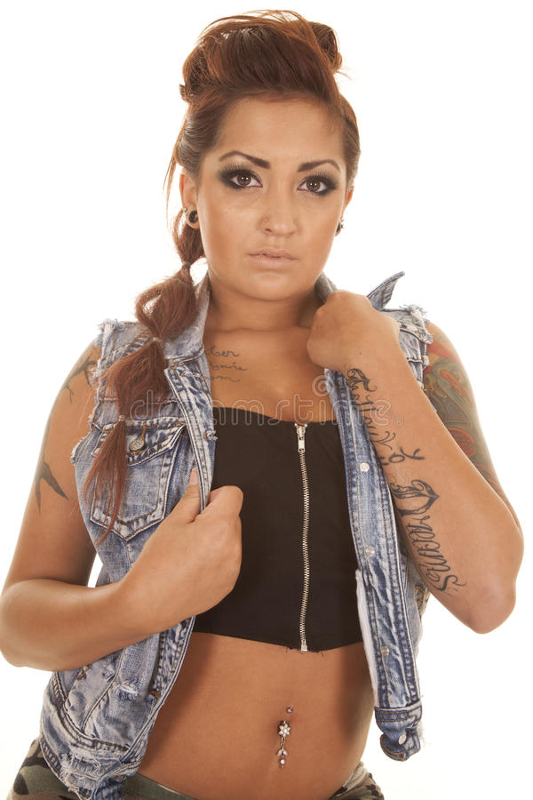 Download Woman Tattoo Close Hold Jacket Stock Image - Image of ethnicity, attractive: 33151533