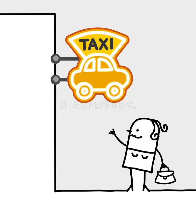 Woman & taxi sign. Hand drawn cartoon characters - woman & taxi sign stock illustration