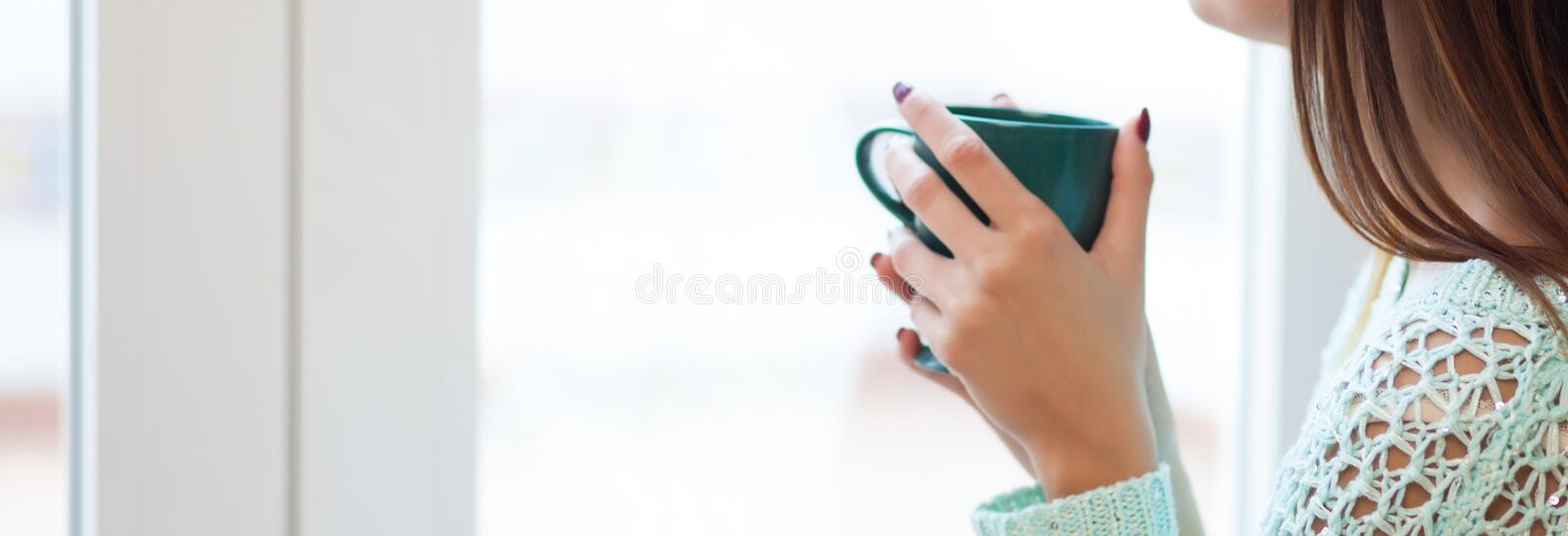 Woman and tea stock images