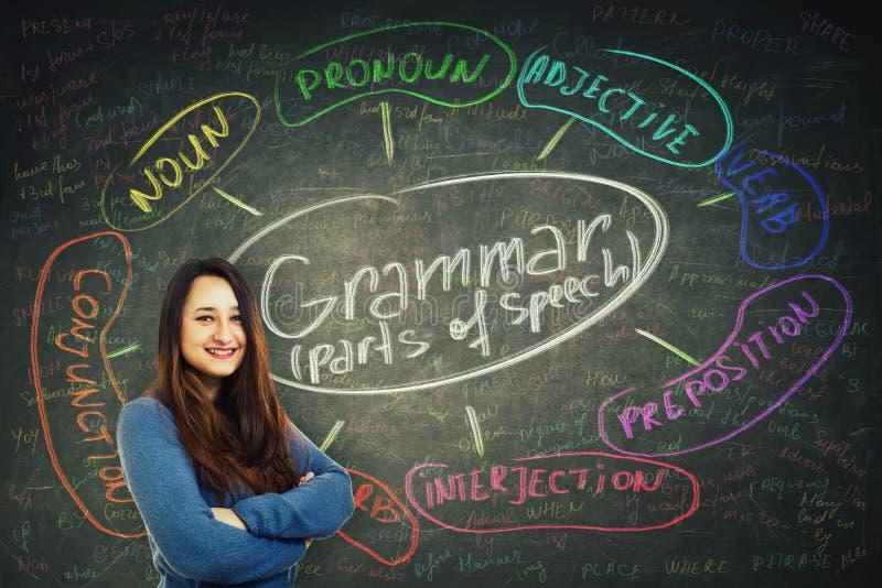 Woman teach english grammar stock photo