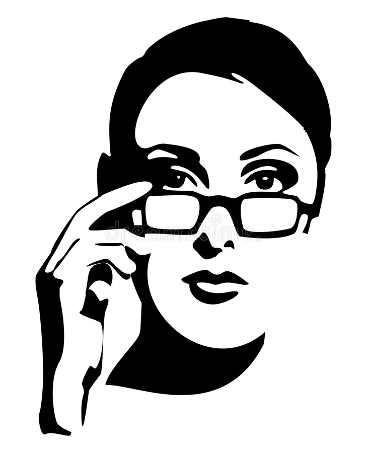 Woman, teacher. Beautiful Woman's face, Stylized Blak And White Vector Graphics